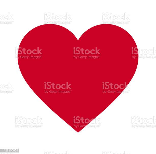 Heart Symbol Of Love And Valentines Day Flat Red Icon Isolated On White Background Vector Illustration Vector - Arte vetorial de stock e mais imagens de Amor