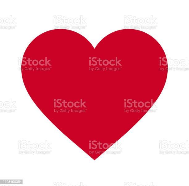 Heart Symbol Of Love And Valentines Day Flat Red Icon Isolated On White Background Vector Illustration Vector - Immagini vettoriali stock e altre immagini di Alla moda