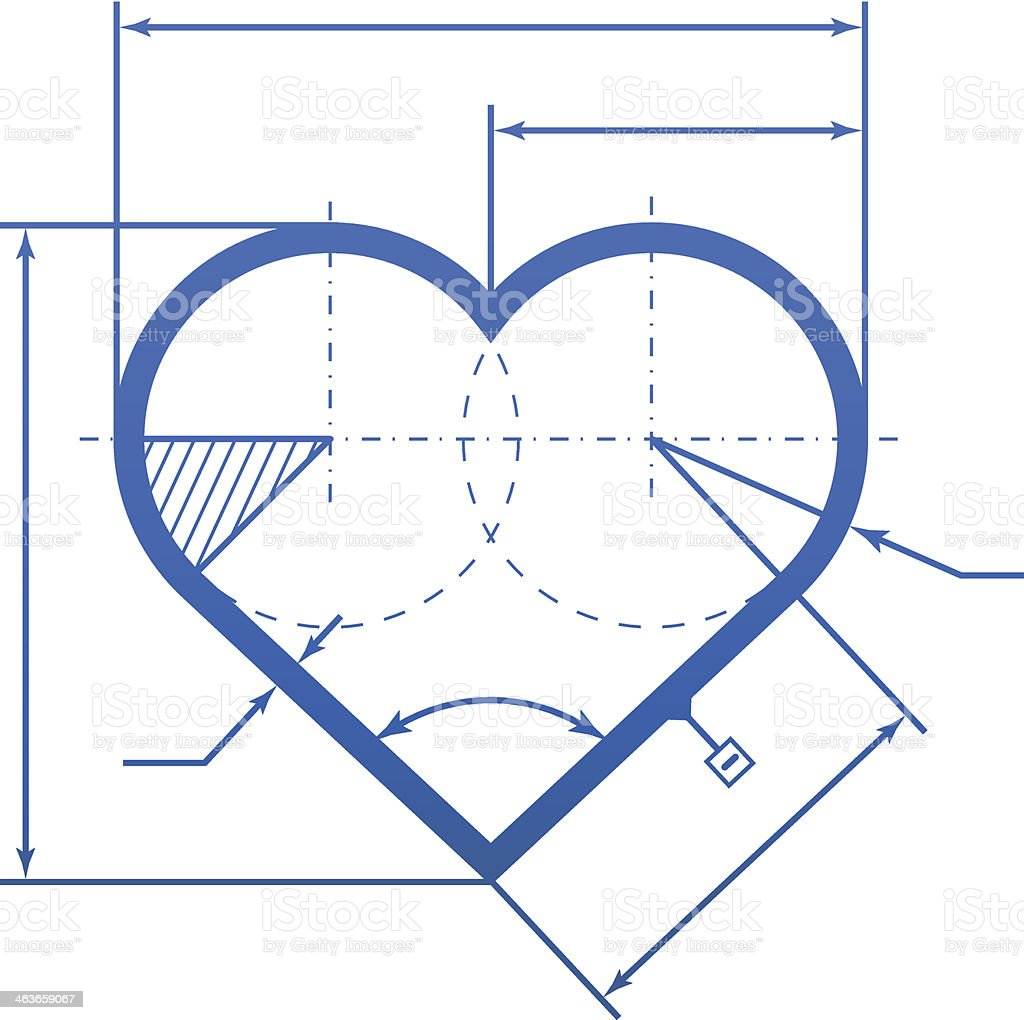 Heart symbol with dimension lines royalty-free stock vector art