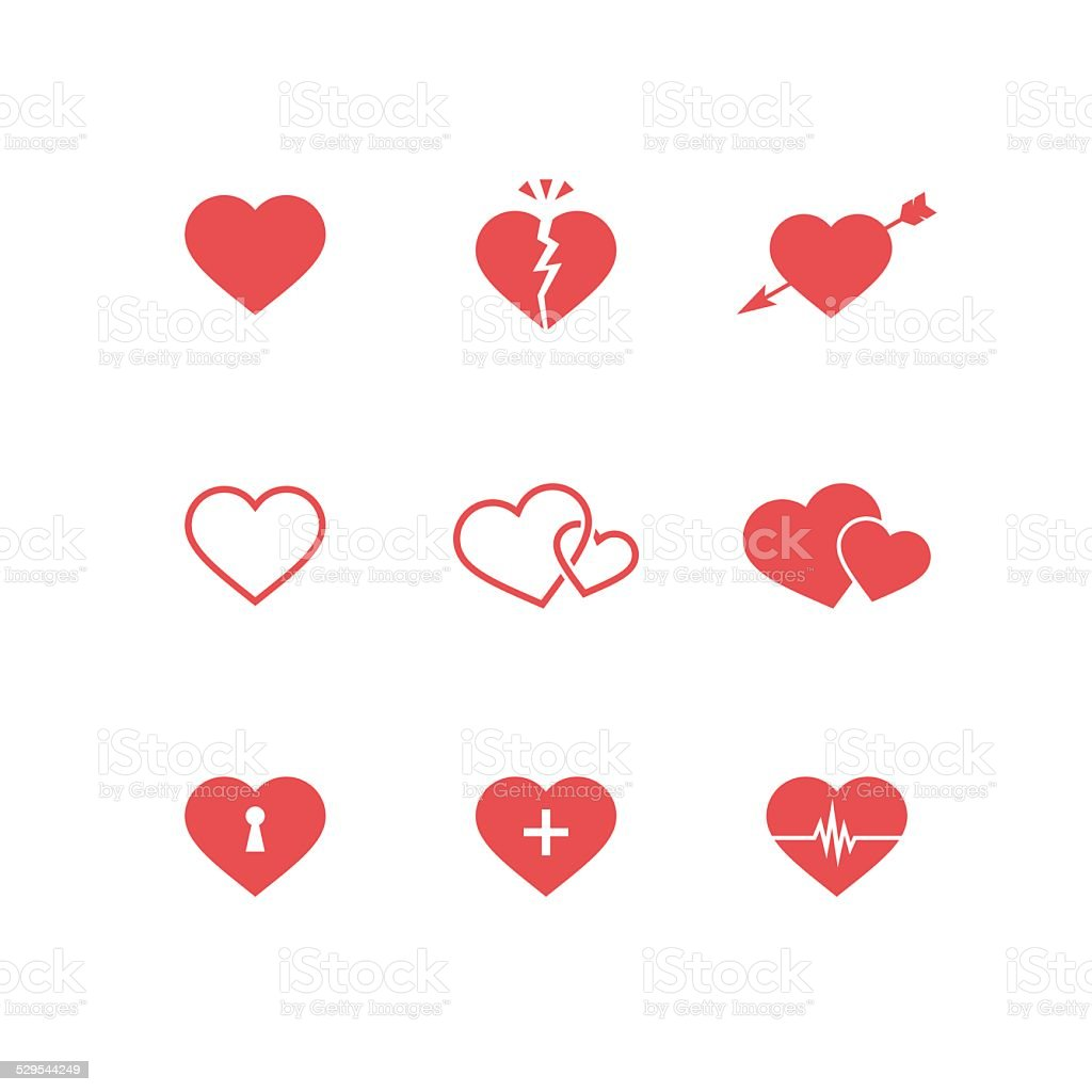 Heart Symbols Set vector art illustration