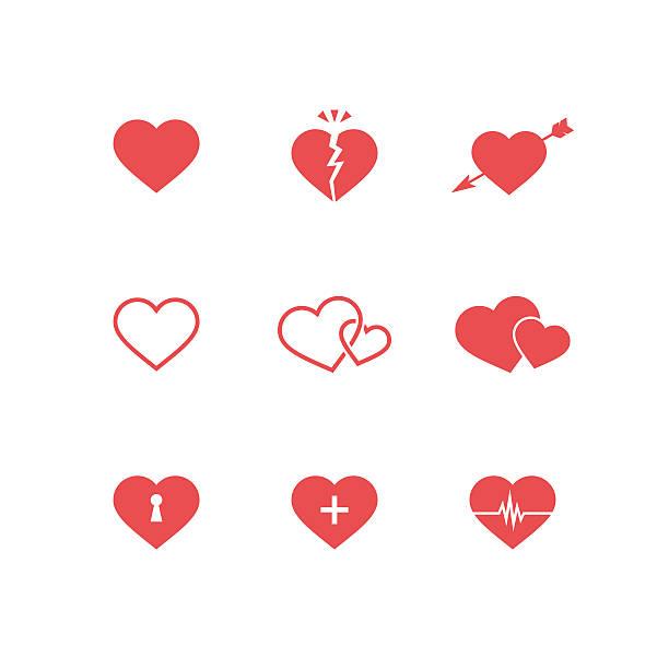 stockillustraties, clipart, cartoons en iconen met heart symbols set - liefdesverdriet