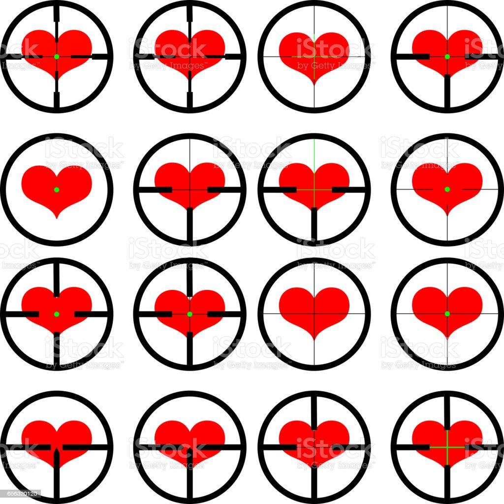 Corazón Dirigida Al Corazón Retícula Visor Diana Gráficos - Arte ...