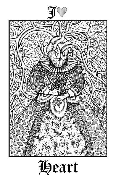 Heart. Tarot card from vector Lenormand Gothic Mysteries oracle deck. vector art illustration