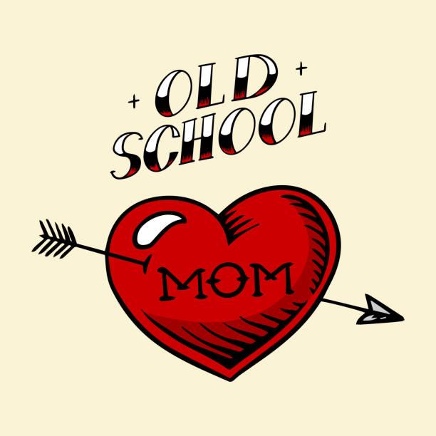illustrations, cliparts, dessins animés et icônes de maman de tatouage de coeur dans le modèle de cru. croquis rétro américain de vieille école. illustration rétro gravée dessinée à la main pour t-shirt et logo ou insigne - tatouages cœurs