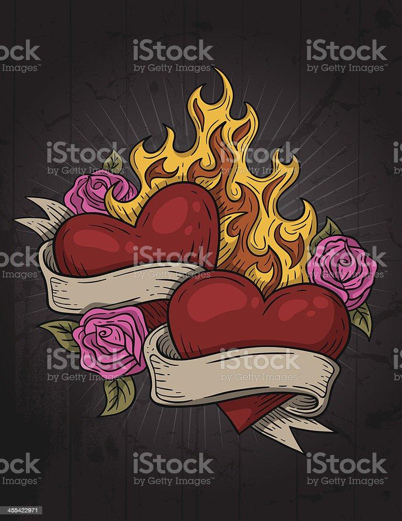 Coração de tatuagem - ilustração de arte em vetor