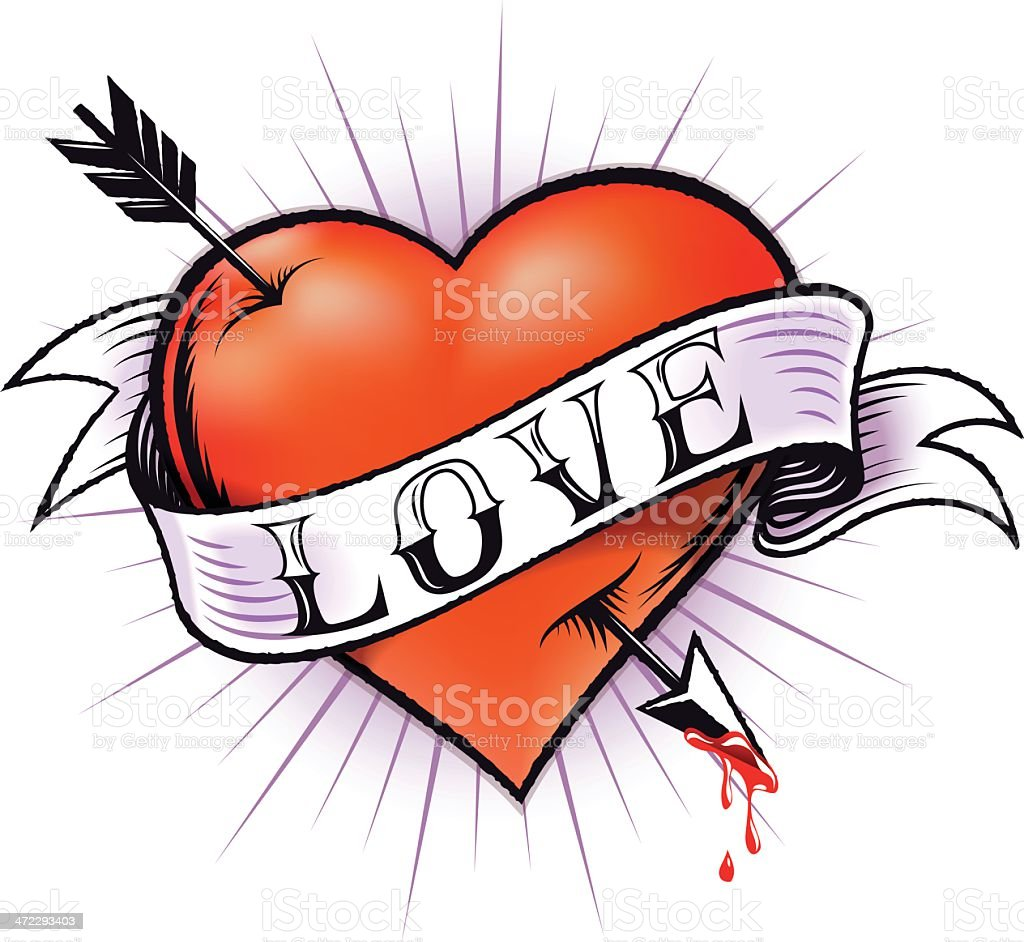 Heart Tattoo vector art illustration