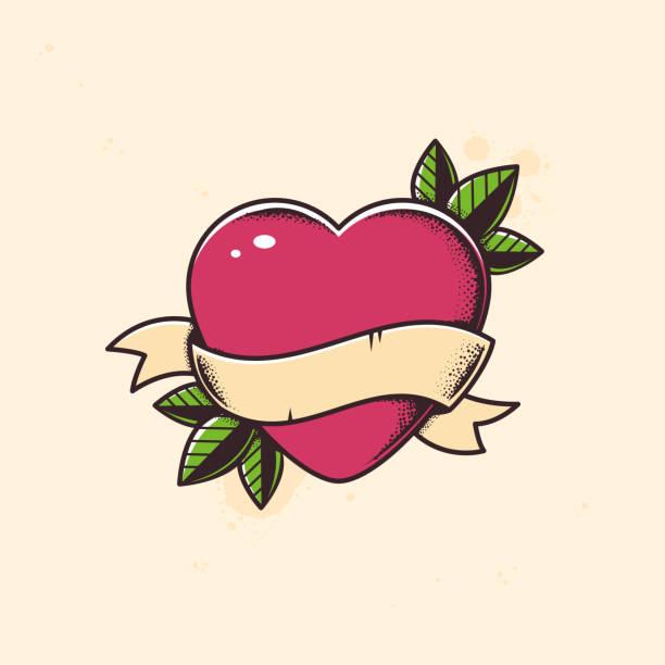 illustrations, cliparts, dessins animés et icônes de tatouage coeur - tatouages cœurs