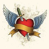Heart Tattoo with Wings, Banner and Sword