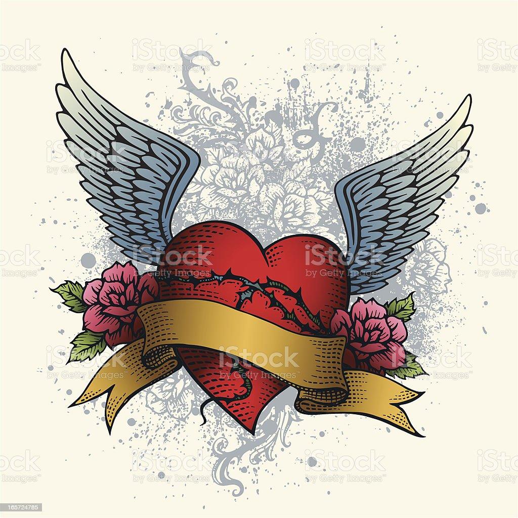 Heart Tattoo With Wings Roses And Banner Stockvectorkunst En Meer
