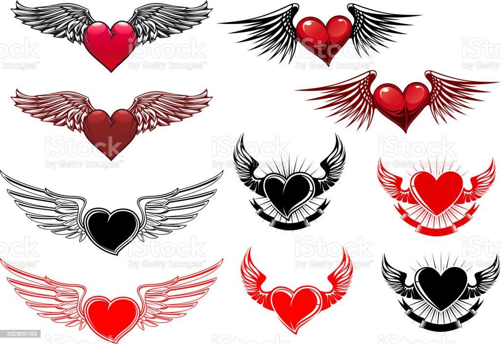 Ilustración De Corazón Con Alas Tatuajes Y Más Banco De Imágenes De
