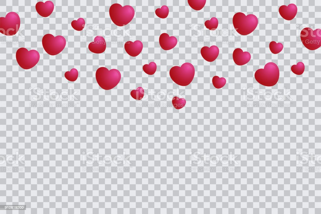 Heart Template Isolated In Transparent Background Valentine Background With Hearts Falling Stock Illustration Download Image Now