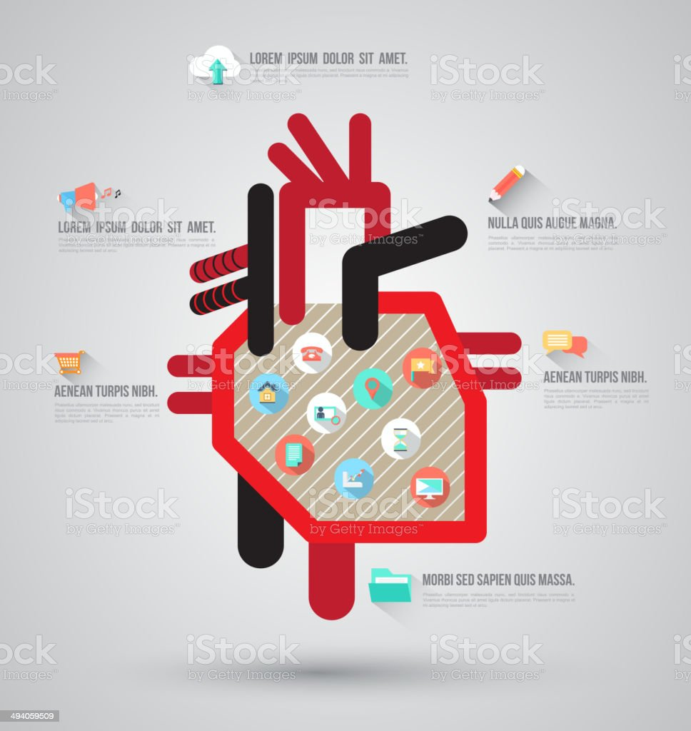 Heart template with flat icons. vector art illustration