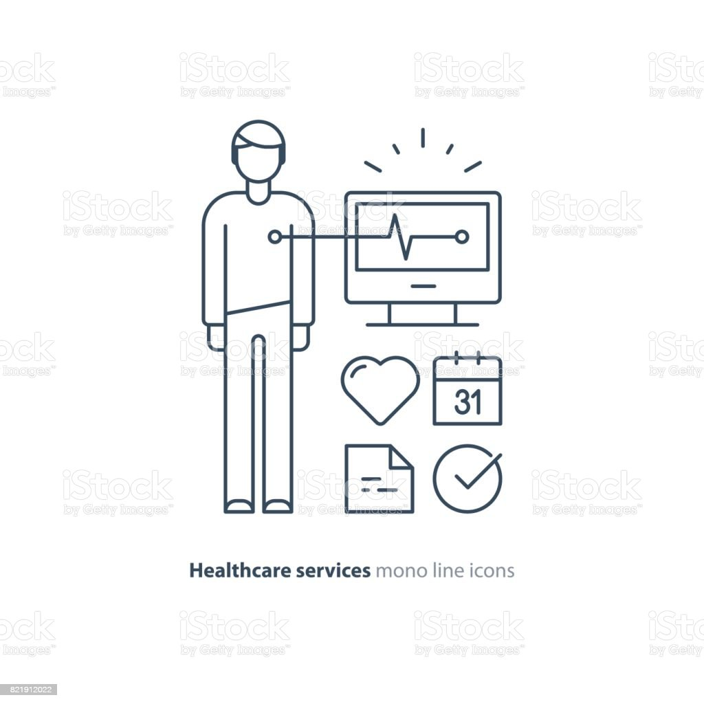 Heart test line icon electrocardiogram monitor logo cardiology heart test line icon electrocardiogram monitor logo cardiology examination royalty free heart test ccuart Choice Image