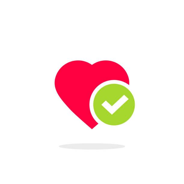 ilustrações de stock, clip art, desenhos animados e ícones de heart tick icon vector illustration, flat cartoon healthy heart with checkmark symbol, idea of confirmed or approved good health clipart - bills couple