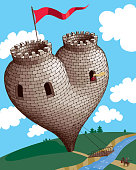 Unassailable medieval tower in the form of heart.