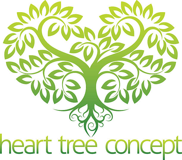 Heart tree concept An abstract illustration of a tree growing in the shape of a heart concept design origins stock illustrations