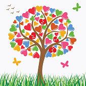 Vector heart tree .