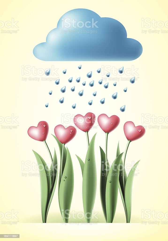 heart tulips royalty-free stock vector art