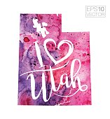 I Heart Utah Vector Watercolor Map