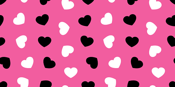 Heart Valentine Day Seamless Pattern Isolated Vector Love Icon Wallpaper Background Black Pink Stock Illustration Download Image Now Istock