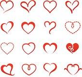 Heart valentine icon set vector illustration