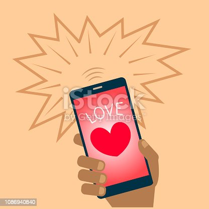 Red heart on mobile phone screen Valentine card icon.