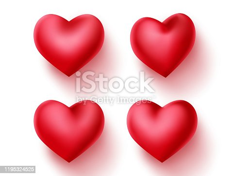 Heart valentines vector decoration set. Red hearts element for valentine sign and symbol isolated in empty white background. 3d realistic vector illustration.