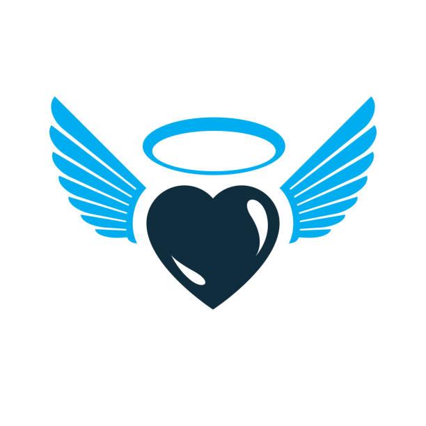 illustrazioni stock, clip art, cartoni animati e icone di tendenza di heart vector graphic illustration, love and freedom metaphor symbol. guardian angel vector abstract emblem. - aureola