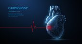Abstract 3d vector human heart isolated on blue. Red cardio puls line. Anatomy, cardiology medicine, organ health, medical science, life healthcare, illness concept illustration or background