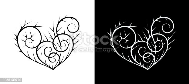Heart Shape,Beauty,Heart and Thorns,Abstract,Vector heart,Heart,Black And White,Two Hearts,swirl pattern