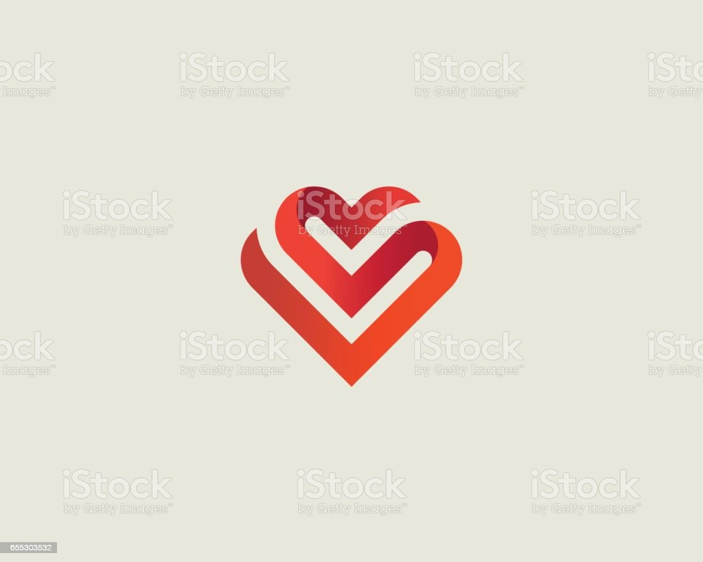 Heart vector symbol. Valentines day ribbon logotype. Abstract line medical health logo icon design. vector art illustration
