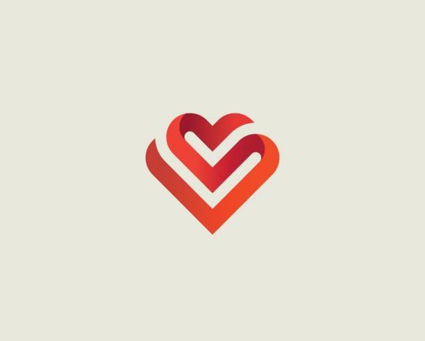 ilustrações de stock, clip art, desenhos animados e ícones de heart vector symbol. valentines day ribbon logotype. abstract line medical health logo icon design. - crianças todas diferentes