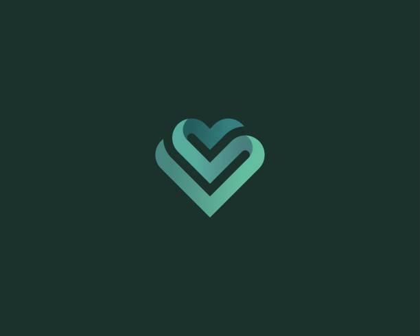 ilustraciones, imágenes clip art, dibujos animados e iconos de stock de vector símbolo de corazón. logotipo de la cinta del día de san valentín. diseño de icono de gradiente salud logo. - logos de médico