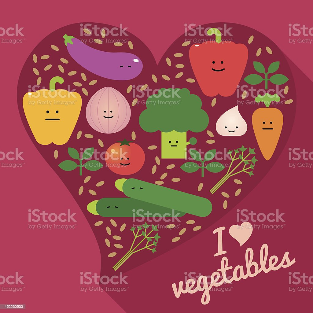 I heart vegetables royalty-free i heart vegetables stock vector art & more images of anthropomorphic smiley face