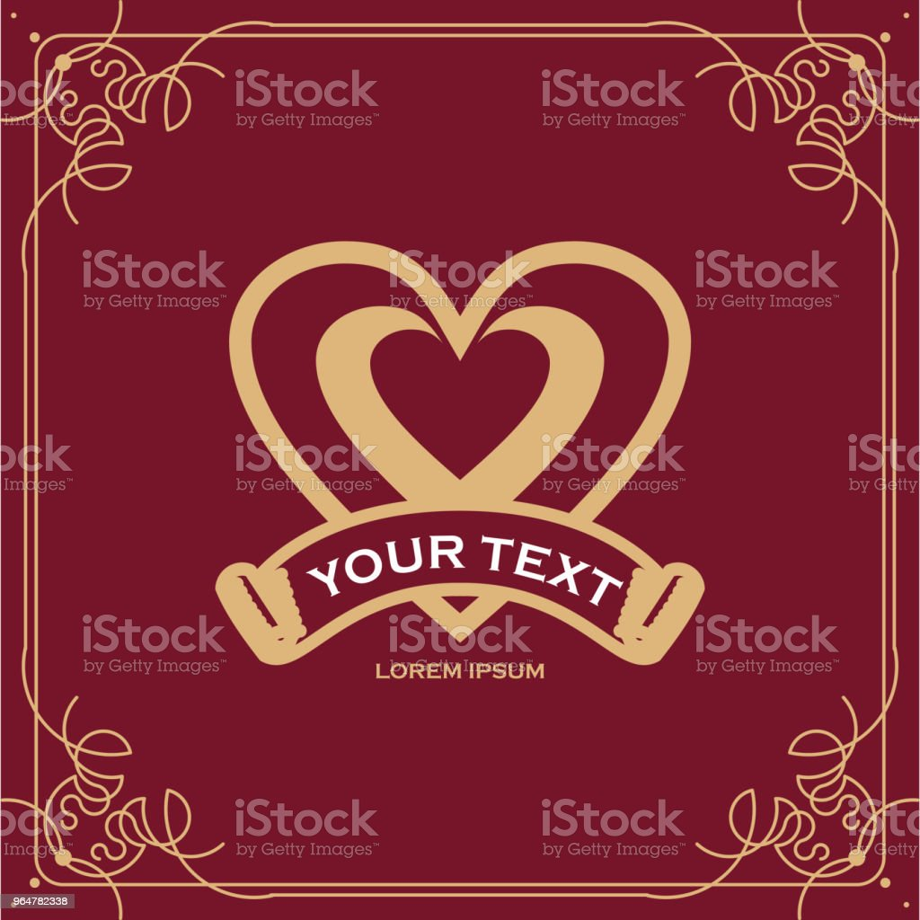 Heart Vintage Text Label Vector Template Design royalty-free heart vintage text label vector template design stock vector art & more images of art