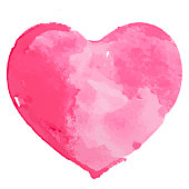 A vector illustration of a hand painted watercolor heart. Perfect for Valentine's Day.