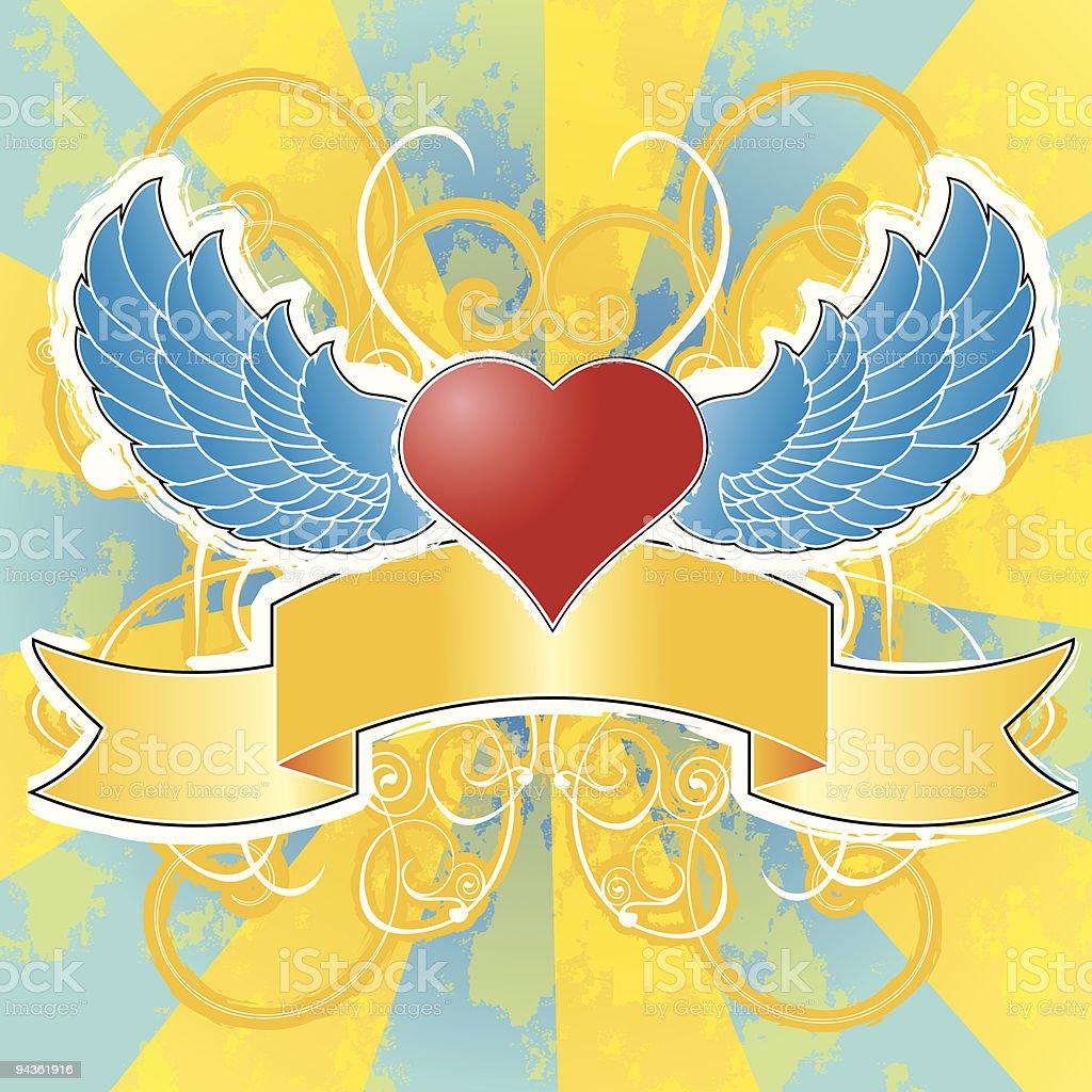 Heart, Wings, & Banner royalty-free stock vector art