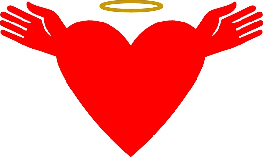 Heart with a halo and hands in the form of wings