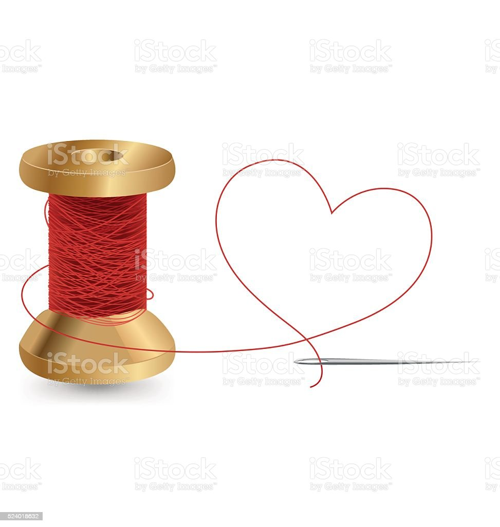 Heart With A Needle Thread and Reel, Vector Design vector art illustration