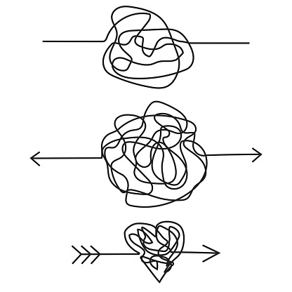 Heart with an arrow in the form of doodles. Love symbol made of rope. Cord figures. Stock image. EPS 10.