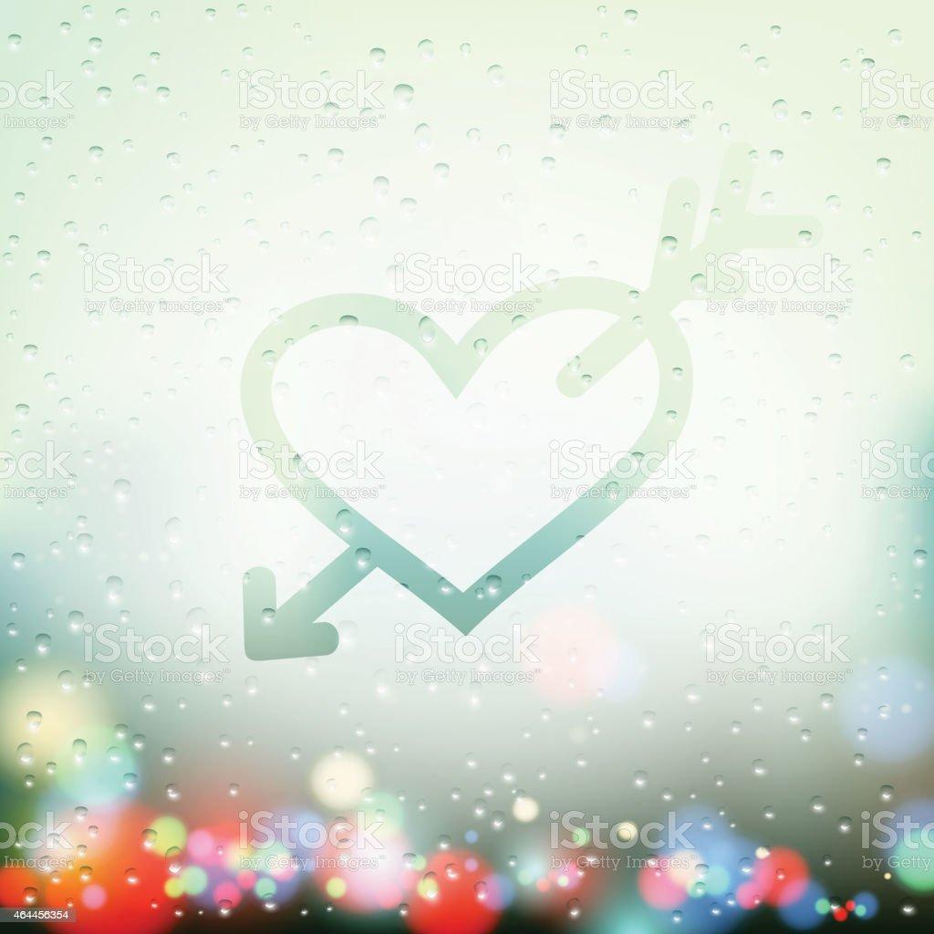 heart with an arrow painted on Sweaty Window vector art illustration