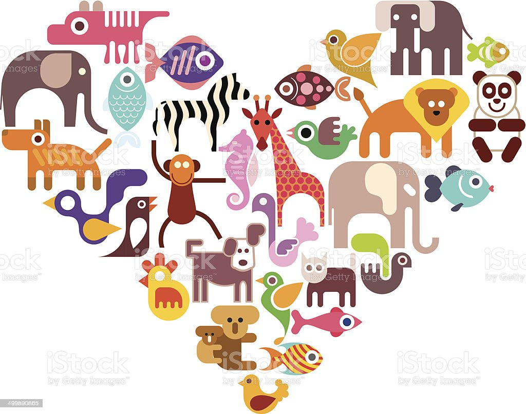 Heart with animal vector icons vector art illustration