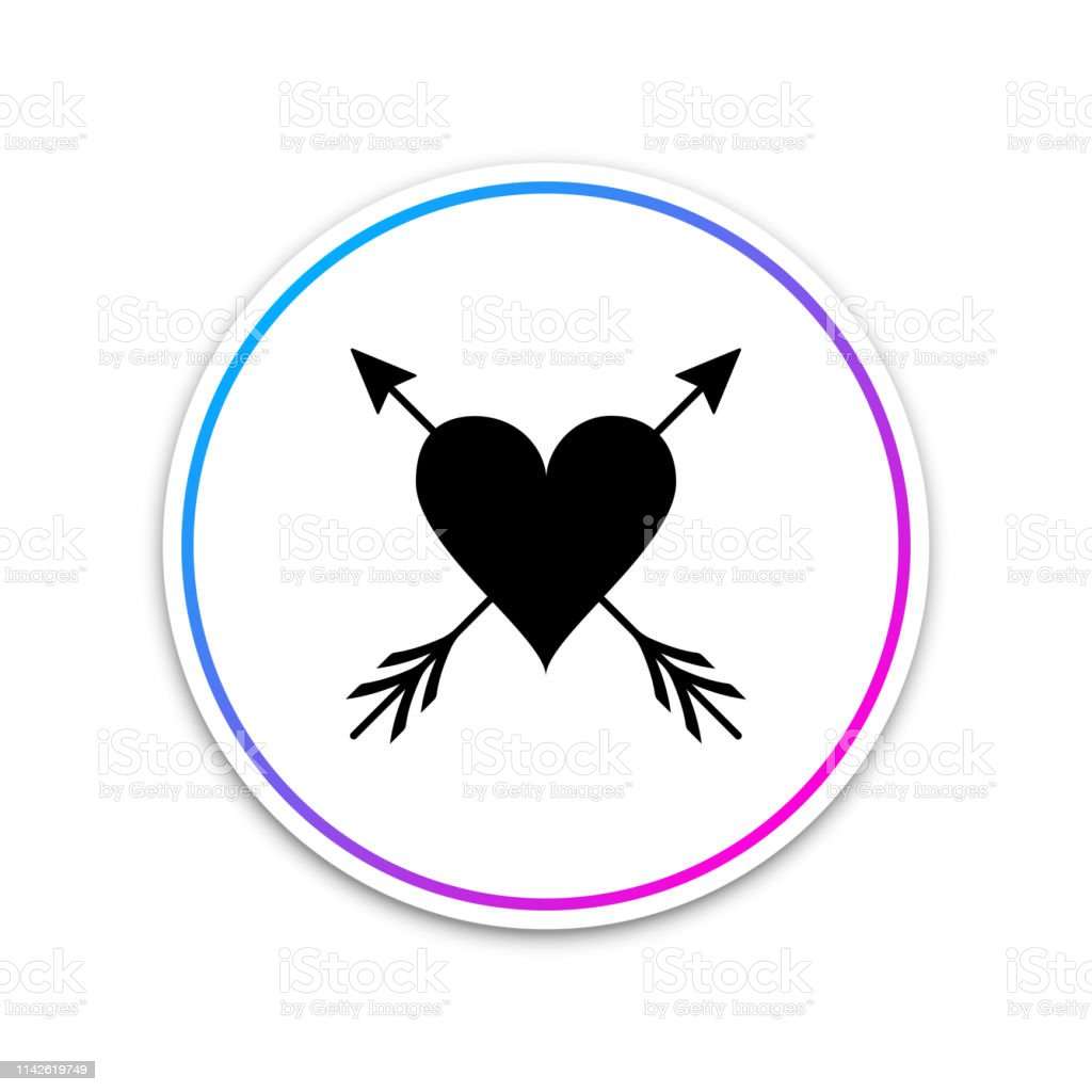 Heart With Arrow Icon Isolated On White Background Happy