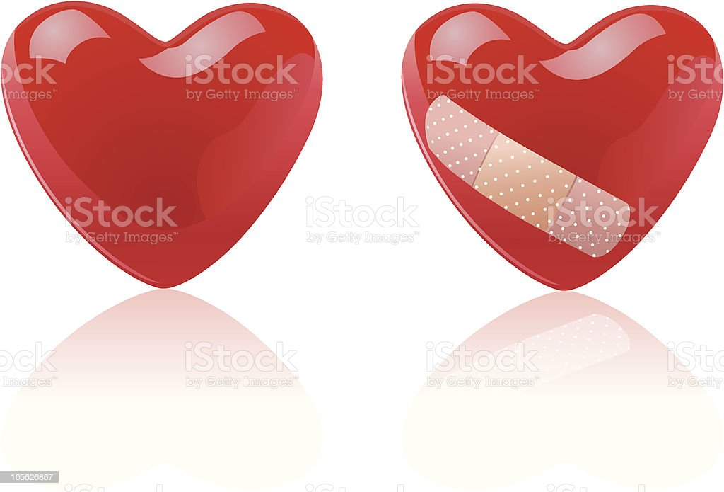 Heart with band-aid VECTOR royalty-free stock vector art