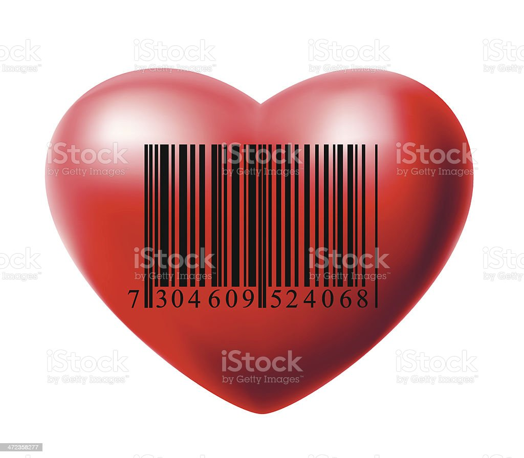Heart with bar code royalty-free stock vector art
