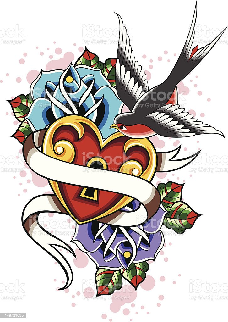 heart with bird and rose royalty-free stock vector art