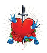 heart with birds, roses and knife