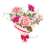 Heart with bouquet of pink, red flowers. Valentine's Day card. Carnation schabaud, spring blossom (branches apple tree flowers), buds, leaves, white background. Digital draw, watercolor style, vector