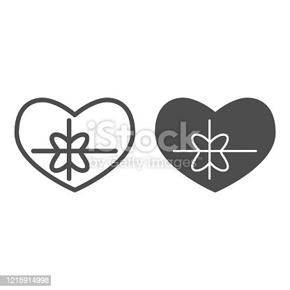 Heart with bow line and solid icon. Greeting card in love shape with ribbon symbol, outline style pictogram on white background. Valentine day sign for mobile concept and web design. Vector graphics.