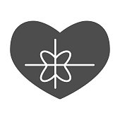 Heart with bow solid icon. Greeting card in love shape with ribbon symbol, glyph style pictogram on white background. Valentine day sign for mobile concept and web design. Vector graphics